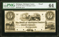 Obsoletes By State:Michigan, Michigan Centre, MI- Bank of Michigan Centre $3 18__ as G6 Lee MIC-1-3 Proof PMG Choice Uncirculated 64.. ...