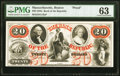 Boston, MA- Bank of the Republic $20 Feb. 3, 186_ as G12a Proof PMG Choice Uncirculated 63