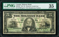World Currency, Canada Montreal, PQ- Molsons Bank $5 2.1.1912 Pick S1235 Ch.# 490-32-02 PMG Choice Very Fine 35.. ...