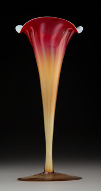 New England Glass Company Plated Amberina Glass Lily Vase, circa 1900 9-3/4 inches (24.8 cm)  PROPERTY FROM THE ESTATE O...