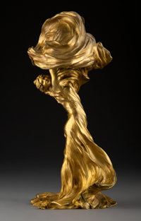 Raoul François Larche Gilt Bronze Loïe Fuller Table Lamp, circa 1900 Marks: RAOUL LARCHE, SIOT-DECAUVILLE FO...