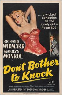 """Don't Bother to Knock (20th Century Fox, 1952). Fine/Very Fine on Linen. One Sheet (27"""" X 41""""). Film Noir"""