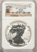2012-S $1 Silver Eagle, Reverse Proof, 75th Anniversary Set, First Strike PR70 NGC. NGC Census: (4110). PCGS Population:...