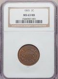 1865 2C MS63 Red and Brown NGC. NGC Census: (131/781). PCGS Population: (309/1109). CDN: $185 Whsle. Bid for NGC/PCGS MS...