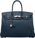 "Luxury Accessories:Bags, Hermès 35cm Bleu de Prusse Togo Leather Birkin Bag with Palladium Hardware. L Square, 2008. Condition: 3. 14"" Widt..."