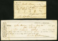 Confederate Notes:Group Lots, San Antonio, TX Interim Depository Receipt $500 July 25, 1863 Tremmel TX-80 VF;. Rusk, TX Confederate Tax Receipt for Whea... (Total: 2 items)