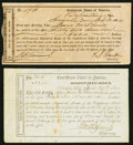 Confederate Notes:Group Lots, Mississippi Interim Deposit Receipts Various Amounts 1864 Very Fine.. Aberdeen Tremmel MS-13; Brandon UNL. . ... (Total: 2 items)