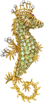 Peridot, Diamond, Ruby, Gold Clip-Brooch, Schlumberger for Tiffany & Co., French