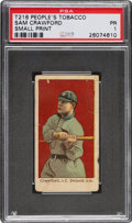 Baseball Cards:Singles (Pre-1930), 1911-16 T216 Peoples - Kotton Cigarettes Sam Crawford PSA Poor 1 - Only Four PSA-Graded Examples! ...