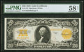 Large Size:Gold Certificates, Fr. 1187 $20 1922 Gold Certificate PMG Choice About Unc 58 Net.. ...