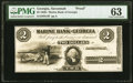 Obsoletes By State:Georgia, Savannah, GA- Marine Bank of Georgia $2 18__ as G4 Proof PMG Choice Uncirculated 63.. ...