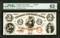 Obsoletes By State:Georgia, Savannah, GA- Timber Cutter's Bank $2 18__ as G4a Proof PMG Choice Uncirculated 63 EPQ.. ...