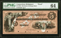 Obsoletes By State:Connecticut, Bridgeport, CT- Merchants Exchange Bank $5 18__ as G8a Proof PMG Choice Uncirculated 64.. ...