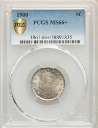 1900 5C MS66+ PCGS. PCGS Population: (71/11). NGC Census: (40/3). CDN: $500 Whsle. Bid for NGC/PCGS MS66. Mintage 27,255...