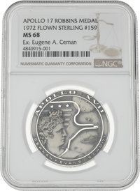 Apollo 17 Flown MS68 NGC Silver Robbins Medallion, Serial Number 159, Originally from the Personal Collection of Mission...
