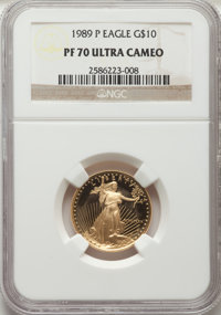 1989-P G$10 Quarter-Ounce Gold Eagle PR70 Ultra Cameo NGC. NGC Census: (1325). PCGS Population: (327). CDN: $700 Whsle...