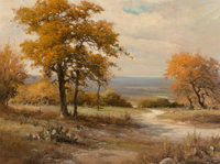 Robert William Wood (American, 1889-1979) Texas Oaks Oil on canvas 30 x 40 inches (76.2 x 101.6 c