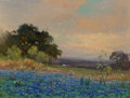 Paintings, Robert William Wood (American, 1889-1979). Bluebonnets. Oil on canvas. 12 x 16 inches (30.5 x 40.6 cm). Signed and dated...