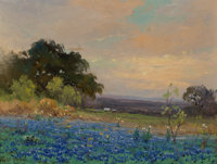 Robert William Wood (American, 1889-1979) Bluebonnets Oil on canvas 12 x 16 inches (30.5 x 40.6 c