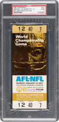 Football Collectibles:Tickets, 1967 Super Bowl I (Packers vs. Chiefs) Full Ticket - Appears Mint (With Exception of Staple Holes)....