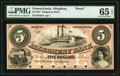 Allegheny, PA- Allegheny Bank $5 18__ as G8a as Hoober 5-2 Proof PMG Gem Uncirculated 65 EPQ