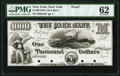 New York, NY- Park Bank $1000 18__ G20 Proof PMG Uncirculated 62