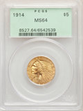 1914 $5 MS64 PCGS. PCGS Population: (294/33). NGC Census: (203/20). CDN: $2,150 Whsle. Bid for NGC/PCGS MS64. Mintage 24...