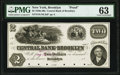 Brooklyn, NY- Central Bank of Brooklyn $2 18__ as G4a Proof PMG Choice Uncirculated 63