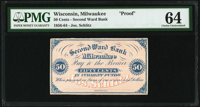 Milwaukee, WI- Joseph Schlitz/Second Ward Bank 50¢ ND circa 1856-63 Krause UNL Proof PMG Choice Uncirculated 64