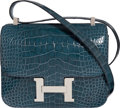 Luxury Accessories:Bags, Hermès 24cm Shiny Blue Tempete Alligator Double Gusset Constance Bag with Palladium Hardware. A, 2017. Condition: 1...