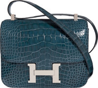 Hermès 24cm Shiny Blue Tempete Alligator Double Gusset Constance Bag with Palladium Hardware A, 2017 Condition: 1...