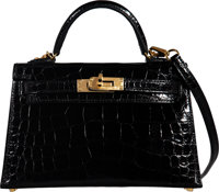 Hermès 20cm Shiny Black Alligator Leather Mini Kelly II Bag with Gold Hardware D, 2019 Condition: