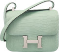 Hermès 23cm Matte Vert D'Eau Alligator Constance Bag with Palladium Hardware C, 2018 Condition: 1