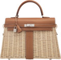 Luxury Accessories:Bags, Hermès Limited Edition 35cm Fauve Barenia Leather & Osier Wicker Kelly Picnic Bag with Palladium Hardware . C, 2018. C...