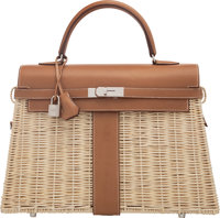 Hermès Limited Edition 35cm Fauve Barenia Leather & Osier Wicker Kelly Picnic Bag with Palladium Hardware C...