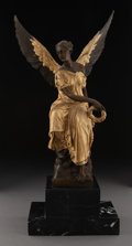 Sculpture, After Louis Auguste Moreau (French, 1855-1919). Winged Victory . Partial gilt bronze, marble. 15-1/4 inches (38.7 cm). I...