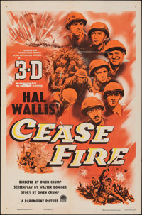 """Cease Fire! & Other Lot (Paramount, 1953). Folded, Fine+. One Sheets (2) (27"""" X 41"""") 3-D Style. War. ... (..."""