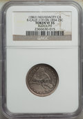 Counterstamps, Counterstamped Seated Liberty Quarter Group Lot of Known Merchants. Three Seated Liberty quarters; an 1861 Arrows and Rays c...