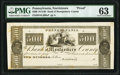 Norristown, PA- Bank of Montgomery County $500 18__ UNL Proof PMG Choice Uncirculated 63