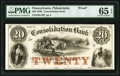 Philadelphia, PA- Consolidation Bank $20 18__ as G10 as Hoober 305-231 Proof PMG Gem Uncirculated 65 EPQ