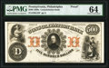 Obsoletes By State:Pennsylvania, Philadelphia, PA- Consolidation Bank $500 18__ as G16 as Hoober 305-234 Proof PMG Choice Uncirculated 64.. ...