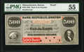 Obsoletes By State:Massachusetts, Boston, MA- Bank of the Republic $500 Feb. 3, 1860 as G18a Proof PMG About Uncirculated 55.. ...