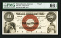 Obsoletes By State:Massachusetts, Danvers, MA- Village Bank $500 Oct. 1, 1857 as G80 Proof PMG Gem Uncirculated 66 EPQ.. ...