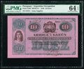 Paraguay Argentine Occupation 10 Pesos 1870 Pick S185 PMG Choice Uncirculated 64 EPQ