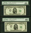 Fr. 1962-I and Fr. 1962-I* $5 1950A Federal Reserve Note. PMG Gem Uncirculated 66 EPQ and Choice Uncirculated 64 EPQ...