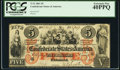 Confederate Notes:1861 Issues, T31 $5 1861 Cr. 244 PCGS Extremely Fine 40PPQ.. ...