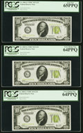 Small Size:Federal Reserve Notes, Fr. 2003-G $10 1928C Light Green Seal Federal Reserve Notes. Cut Half Sheet of Six. PCGS Graded.. ... (Total: 6 notes)