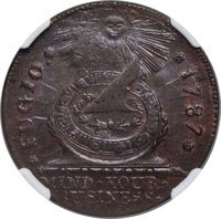 1787 CENT Fugio Cent, STATES UNITED, 4 Cinquefoils, Pointed Rays, MS65 Brown NGC. N. 13-X, W-6855, R.2