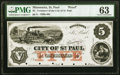 Obsoletes By State:Minnesota, St. Paul, MN- Treasurer of the City of St. Paul $5 18__ Hewitt C280-D5b Proof PMG Choice Uncirculated 63.. ...