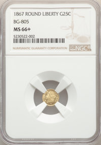 1867 25C Liberty Round 25 Cents, BG-805, Low R.5, MS66+ NGC. NGC Census: (1/0). PCGS Population: (5/1)....(PCGS# 10666)